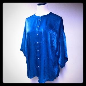 Turo By Vince Camutto Blue Tunic Blouse Plus Sz 1X